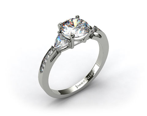 Platinum Three Stone Trillion and Pave Set Diamond Engagement Ring