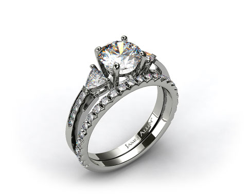 18k White Gold 3-Stone, Pave Diamond Engagement Ring & French Cut Pave Diamond Wedding Ring