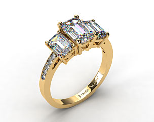 18k Yellow Gold Three Stone Emerald and Pave Set Diamond Engagement Ring