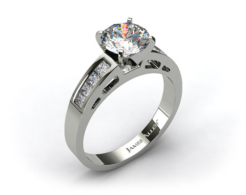 14k White Gold 0.42ct Channel Set Diamond Engagement Ring
