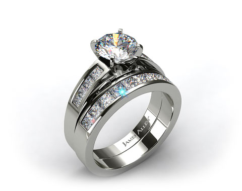 18k White Gold Channel Set Diamond Wedding Set