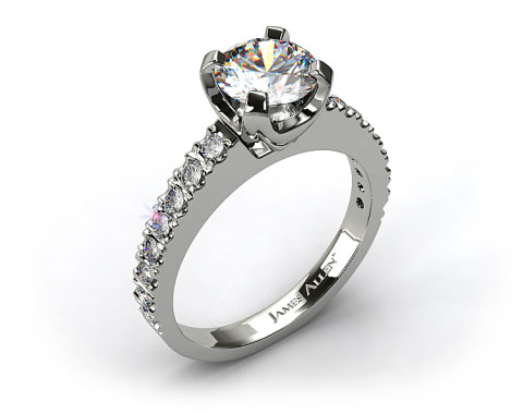 18k White Gold 2.8mm Art-Nouveau Pave Set Diamond Engagement Ring