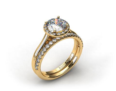 18K Yellow Gold Pave Halo Engagement Ring & Pave Diamond Wedding Ring