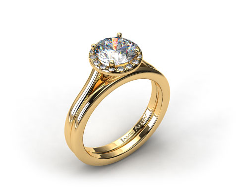 18K Yellow Gold Pave Halo Engagement Ring & Rounded Wire Wedding Ring