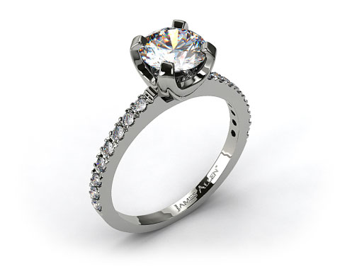 14k White Gold 2.0mm Art-Nouveau Pave Set Diamond Engagement Ring