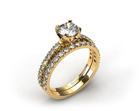 18k Yellow Gold 2.0mm Art-Nouveau Pave Diamond Wedding Set