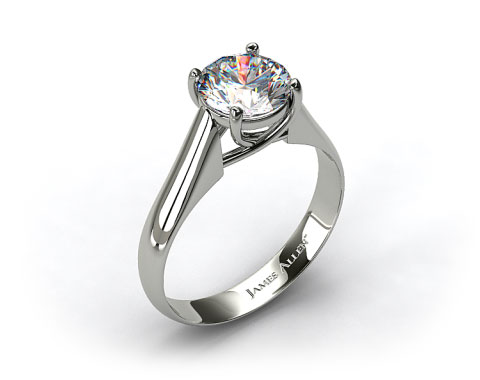 14k White Gold Thin Cross Prong Diamond Engagement Ring