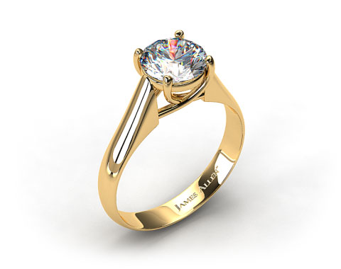 18k Yellow Gold Thin Cross Prong Diamond Engagement Ring