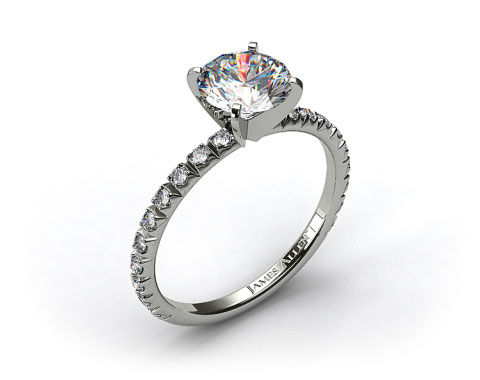 14k White Gold Thin French-Cut Pave Set Diamond Engagement Ring