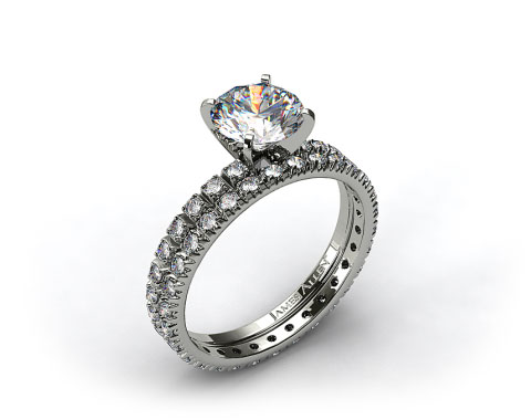 18k White Gold Thin French-Cut Pave Diamond Wedding Set
