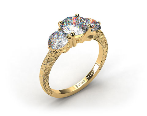 18k Yellow Gold Engraved Three Stone Round Diamond Engagement Ring