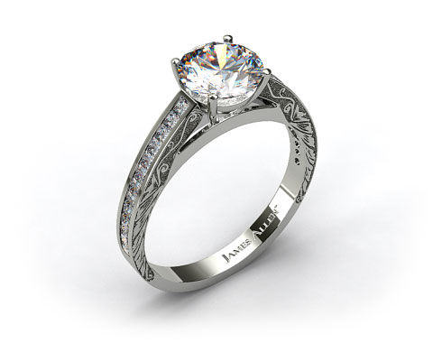 18k White Gold Engraved Channel Set Princess Shaped Diamond Engagement Ring