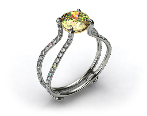 18k White Gold ZE122 by Danhov Designer Engagement Ring (Yellow Gold Basket)