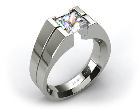 18k White Gold Wide Squared Tension Set Engagement Ring