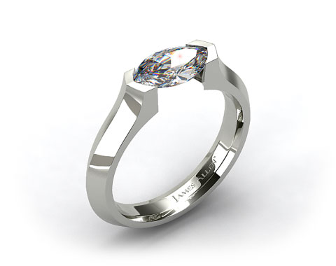 Platinum Knife Edge Tension Set Engagement Ring
