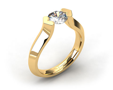 18K Yellow Gold Heart Shaped Tension Set Engagement Ring