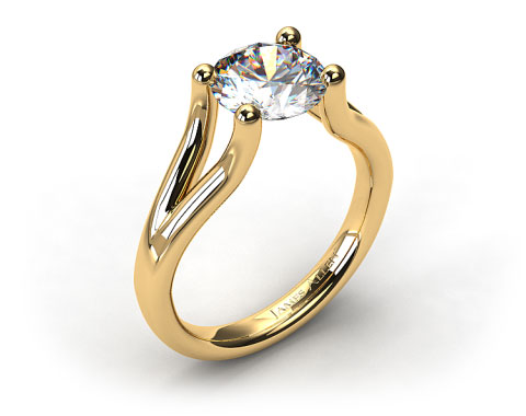 18K Yellow Gold Ball-Tip Split Shank Tension Set Engagement Ring