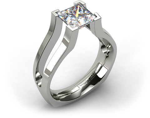 18k White Gold Split Shank V-Tip Tension Set Engagement Ring