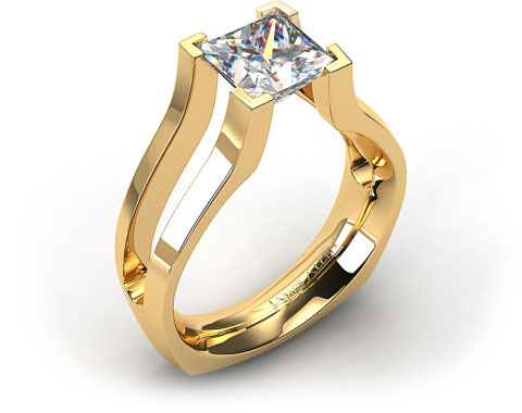 18k Yellow Gold Split Shank V-Tip Tension Set Engagement Ring