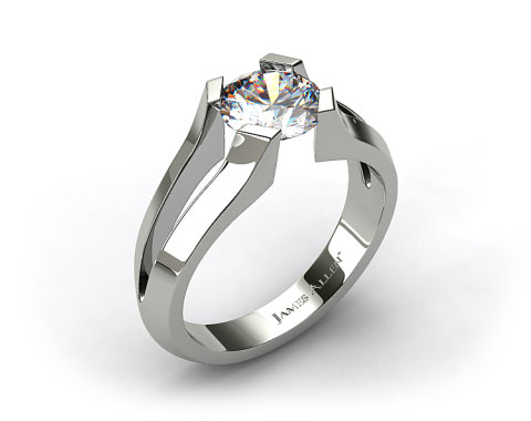18K White Gold Split Shank Tab-Prong Tension Set Engagement Ring