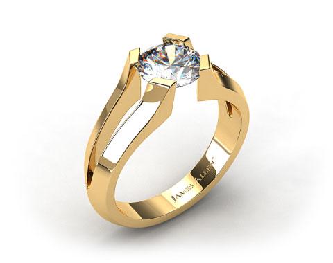 18K Yellow Gold Split Shank Tab-Prong Tension Set Engagement Ring