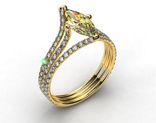 18k White Gold Three Row Pave ZE118 by Danhov Designer Engagement Ring