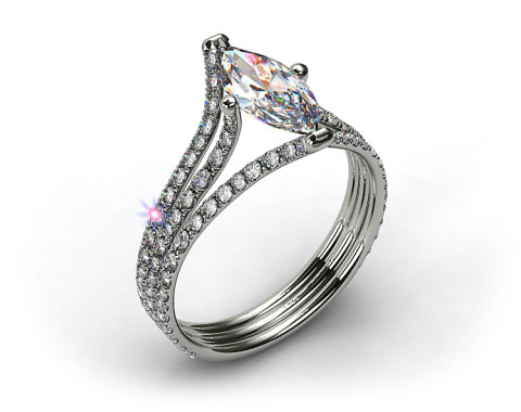 Platinum Three Row Pave ZE118 by Danhov Designer Engagement Ring