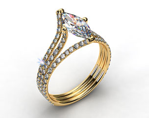 18k Yellow Gold Three Row Pave ZE118 by Danhov Designer Engagement Ring