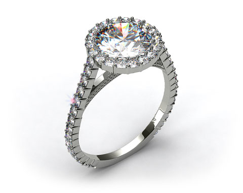18k White Gold Halo Pave XE101 by Danhov Designer Engagement Ring