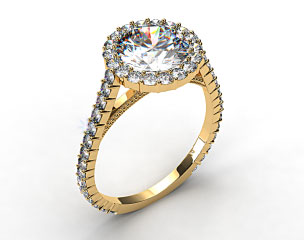 18k Yellow Gold Halo Pave XE101 by Danhov Designer Engagement Ring