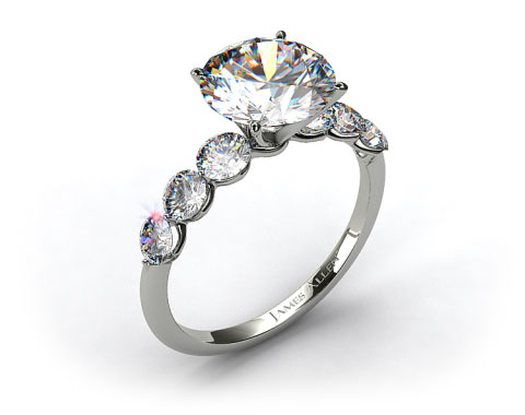 Platinum Scalloped Shared Prong Engagement Ring