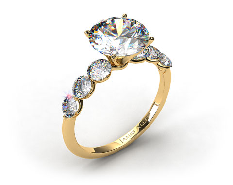 18k Yellow Gold Scalloped Shared Prong Engagement Ring