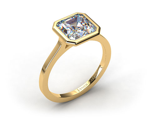 18k Yellow Gold Bezel Solitaire Engagement Ring (Asscher Center)