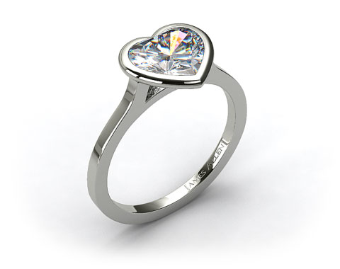 18k White Gold Bezel Solitaire Engagement Ring (Heart Center)