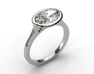 Platinum Bezel Solitaire Engagement Ring (Oval Center)
