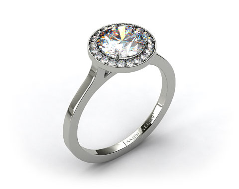 18k White Gold Pave Bezel Engagement Ring