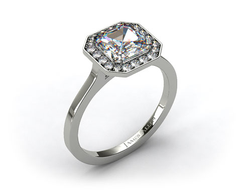 Platinum Pave Halo Engagement Ring (Asscher Center)