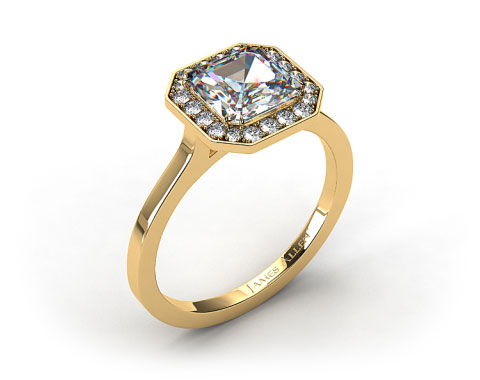 18k Yellow Gold Pave Halo Engagement Ring (Asscher Center)
