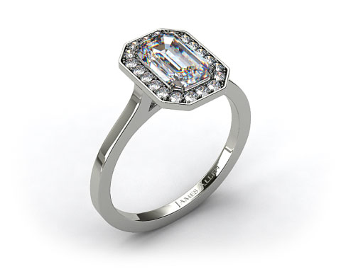 14k White Gold Pave Halo Engagement Ring (Emerald Center)