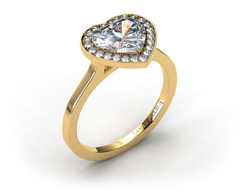 18k Yellow Gold Pave Halo Engagement Ring (Heart Center)