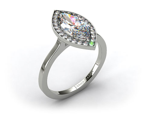 14k White Gold Pave Halo Engagement Ring (Marquise Center)