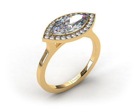 18k Yellow Gold Pave Halo Engagement Ring (Marquise Center)