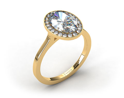 18k Yellow Gold Pave Halo Engagement Ring (Oval Center)