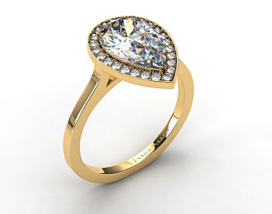 18k Yellow Gold Pave Halo Engagement Ring (Pear Center)
