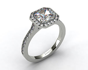 Platinum Pave Halo & Shoulders Engagement Ring (Asscher Center)