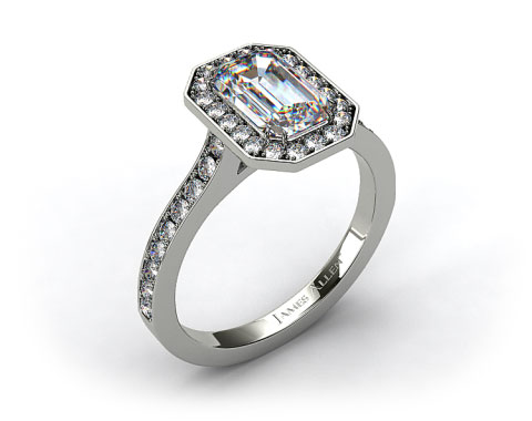14k White Gold Pave Halo & Shoulders Engagement Ring (Emerald Center)