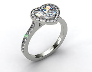 18k White Gold Pave Halo & Shoulders Engagement Ring (Heart Center)