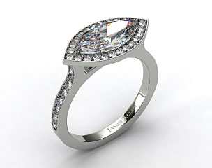 14k White Gold Pave Halo & Shoulders Engagement Ring (Marquise Center)