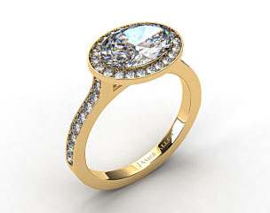 18k Yellow Gold Pave Halo & Shoulders Engagement Ring (Oval Center)
