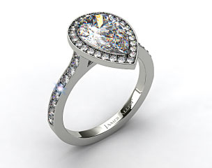 18k White Gold Pave Halo & Shoulders Engagement Ring (Pear Center)